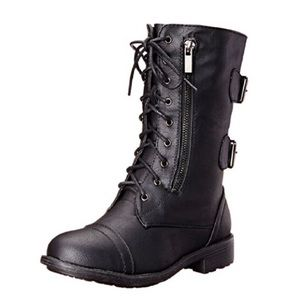 Women's Military Style Lace up Combat Boot - Black